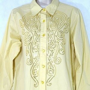 Bob Mackie Button Front Sequin Collared Blouse